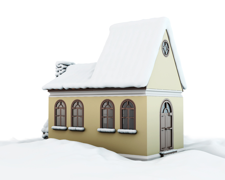 snowcovered: Snow-covered house on white background. 3d render image.