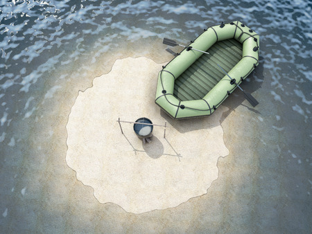 ocean view: Sand Island in the ocean with an empty boat top view. Conceptual image. 3d rendering.