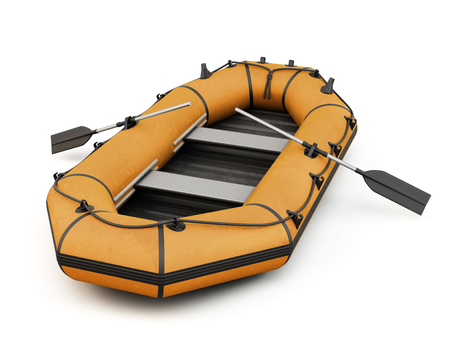 3d boat: Orange inflatable rubber boat isolated on white background. 3d illustration. Stock Photo