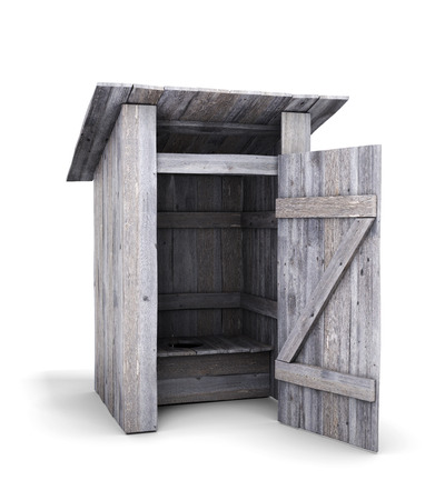 open door: Old wooden toilet with the door open isolated on white background. 3d illustration.