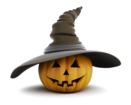 pumpkin head: Happy Halloween pumpkin with hat isolated on white background. 3d rendering.