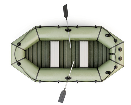 3d boat: Inflatable boat top view isolated on white background. 3d rendering. Stock Photo