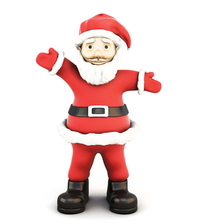 oldman: 3d illustration Santa Claus front view isolated on white background.