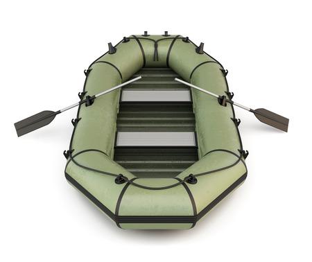 Grüne aufblasbaren Gummi-Boot auf weißem Hintergrund. 3D-Darstellung.
