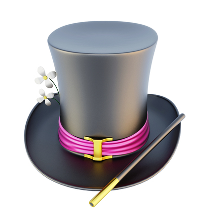 magician hat: Magic cylinder hat isolated on white background. 3d rendering. Stock Photo
