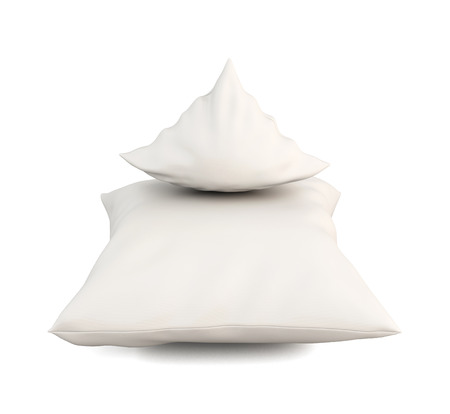 white pillow: Close up of a white pillow on white background. 3d illustration. Stock Photo