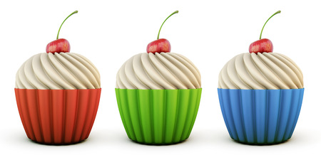 cupcakes isolated: Colorful cupcakes of different flavors isolated on white background. 3d rendering.