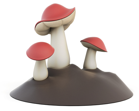 edible: Cartoon three edible mushrooms on a white background. 3d illustration.