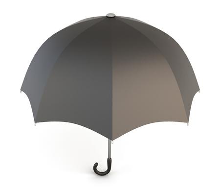 umbrella: Open black umbrella isolated on white background. 3d illustration.