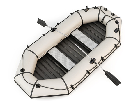 lifeboat: Inflatable rubber boat with oars isolated on white background. 3d rendering. Stock Photo