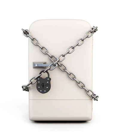 Closed fridge with chain and lock. diet concept. 3d illustration.