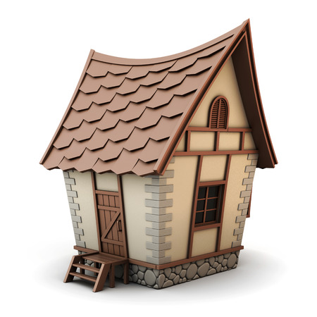 architecture bungalow: 3D Illustration of a House isolated on white background. House cartoon.