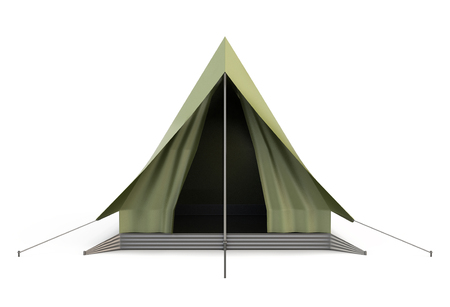 camping tent: Camping Tent front view isolated on white background. 3d illustration. Stock Photo