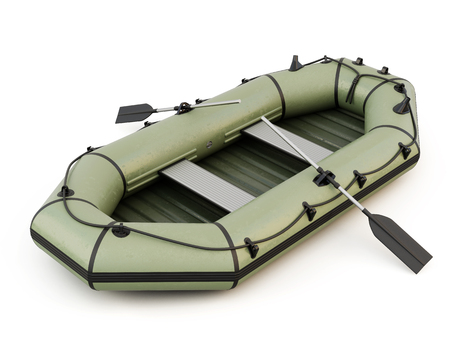 3d boat: Inflatable boat isolated on white background. 3d render image. Stock Photo