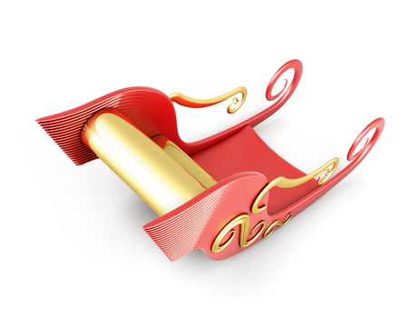 santa sleigh: Sleigh of Santa Claus isolated on white background. 3d illustration.