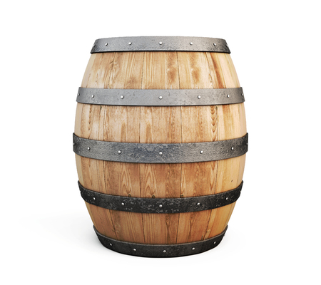 iron hoops: Wooden barrel for wine isolated on white background. 3d illustration.