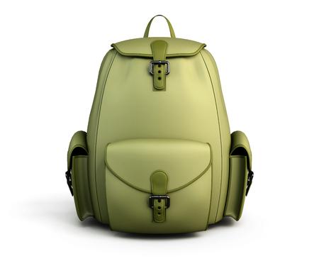 mochila de viaje: Vista frontal mochila de viaje aislado en fondo blanco. 3d ilustraci�n.