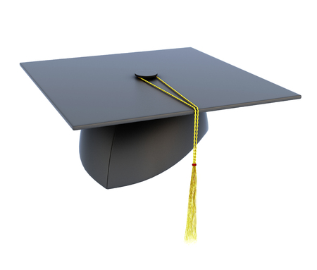 black cap: Graduation hat isolated on white background. 3d render image.
