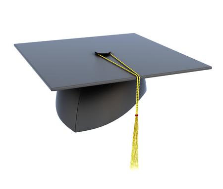birretes: Sombrero de la graduación aislado en fondo blanco. 3d imagen.