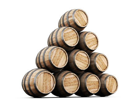 barrell: Stack of barrels isolated on white background. 3d illustration.
