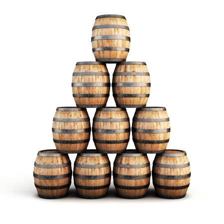 barrell: Stack of wooden barrels isolated on white background. 3d illustration.