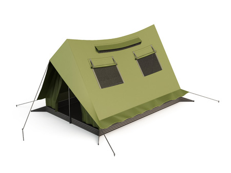 refuge: Camping Tent isolated on white background. 3d render image.