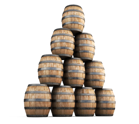 tun: Stack of barrels for wine isolated on white background. 3d render image.
