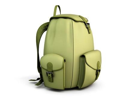 mochila de viaje: mochila de viaje aislado en el fondo blanco. 3d ilustración. Foto de archivo