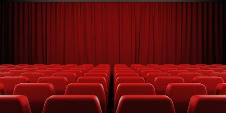 Cine: Pantalla de cine cortina cerrada. 3d imagen.