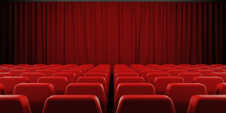 Closed curtain cinema screen. 3d render image.
