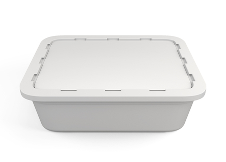 storage box: Template plastic packaging for food products isolated on white background. 3d illustration.