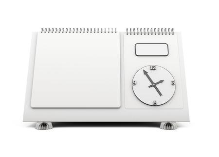 desk calendar: Blank desk calendar clock on isolated a white background. 3d illustration.