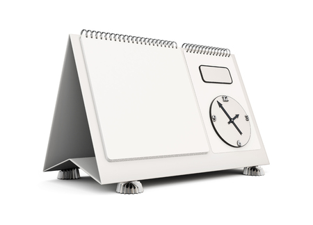 desk calendar: Empty desk calendar isolated on white background for your design. 3d illustration.