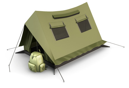 camping pitch: Tourist tent and backpack isolated on white background. 3d illustration.