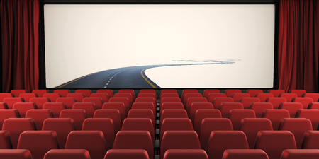 cinema screen: Open curtain and screen of the cinema with a road to nowhere. 3d illustration. Conceptual image. Stock Photo