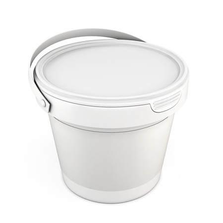 putty: Blank white plastic bucket for putty isolated on white background. 3d illustration.