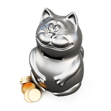 money cat: Cat moneybox isolated on white background. 3d rendering.