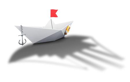 Bateau en papier origami avec l'ombre d'un grand navire - image conceptuelle. 3d illustration.