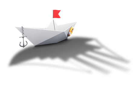 conceptual image: Paper boat origami with the shadow of a large ship - conceptual image. 3d illustration. Stock Photo