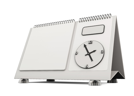 desk calendar: Template desk calendar isolated on white background. 3d render image. Stock Photo