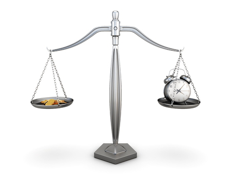 economic revival: Watch and coins on the scales isolated on white background. 3d illustration
