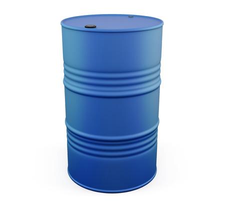 metal barrel: Blue metal barrel isolated on white background. 3d illustration.
