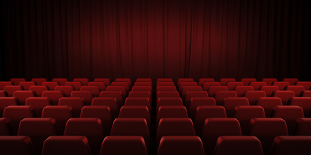 red stage curtain: Closed theater red curtains and seats. 3d render image.