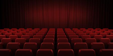 sipario chiuso: teatro chiuso tende rosse e sedili. Immagine di rendering 3D.