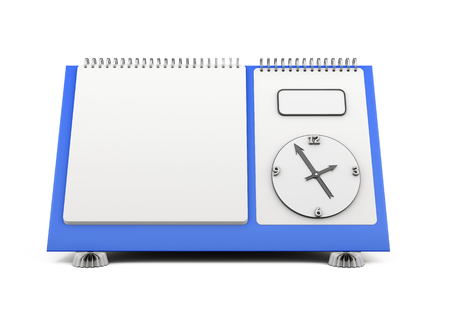 the substrate: Blank desk calendar with a clock on a blue substrate on a white. 3d render image. Stock Photo