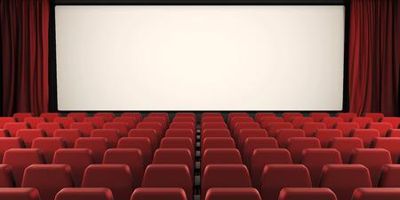 오픈 커튼과 영화 화면. 이미지를 3D 렌더링합니다. 스톡 콘텐츠