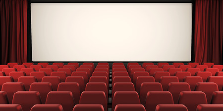 Cinema screen with open curtain. 3d render image. Imagens