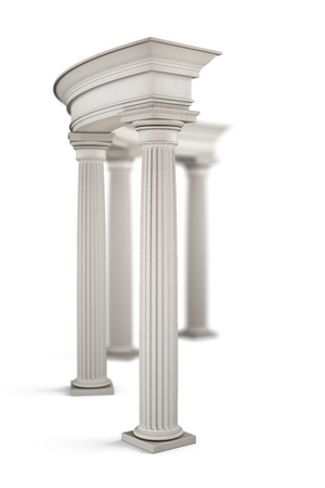archway: Ancient entrance with columns close-up. 3d illustration.