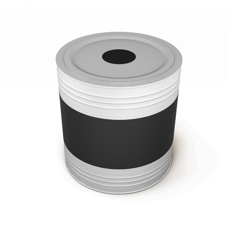 paint container: Container with black paint and a blank label isolated on white background. 3d illustration.