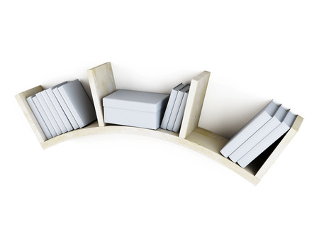 book racks: Shelf with books isolated on white background. 3d illustration.